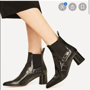 Zara croc style ankle boots